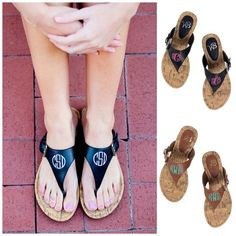 Personalized Monogrammed Sandals Brown or Black Strap