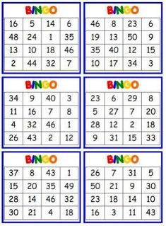 Resultado de imagem para 1-50 bingo cards