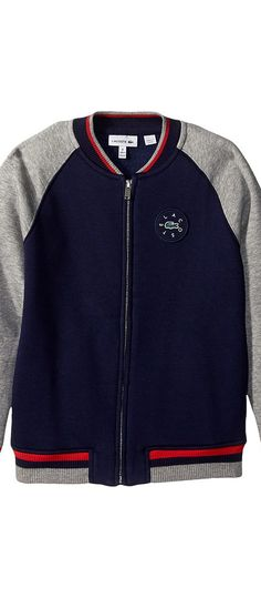 Lacoste Kids Full Zip Varsity Fleece (Toddler/Little Kids/Big Kids) (Penumbra/Aluminium Grey Chine) Boy's Sweatshirt - Lacoste Kids, Full Zip Varsity Fleece (Toddler/Little Kids/Big Kids), SJ2969-413, Apparel Top Sweatshirt, Sweatshirt, Top, Apparel, Clothes Clothing, Gift, - Fashion Ideas To Inspire