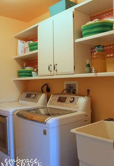 functional laundry room facelift, home decor, laundry rooms, shelving ideas, storage ideas
