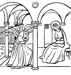 free coloring page of Fra Angelico painting - The Annunciation. You be the master painter! Color this famous painting and many more! You can save your colored pictures, print them and send them to family and friends! Fra Angelico, Online Coloring Pages, Coloring Book Pages, Art Lessons For Kids, Art For Kids, Famous Art, Art Party, Online Painting, Colorful Pictures