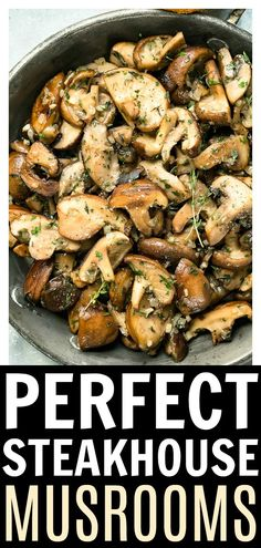 This Easy Sautéed Mushrooms Recipe is bursting with flavor! These perfect steakhouse mushrooms only require one skillet and 7 ingredients! Serve them as a side, folded into eggs and omelets, or over Side Dish Recipes, Vegetable Recipes, Vegetable Dishes, Dinner Recipes, Vegetable Drinks, Drink Recipes, Easy Mushroom Recipes, Best Mushroom Recipe, Recipes For Mushrooms