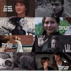 Harry Potter , The Hunger Games, Divergent , The Fault In Our Stars :'( :'( this is so sad<<<it is, but I weirdly love it I Love Books, Good Books, My Books, Movie Quotes, Book Quotes, Tris Et Tobias, Fangirl, Tribute Von Panem, Citations Film