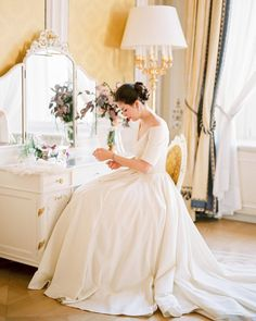 With one of 4 dresses this inspiration shoot will make you feel like a princess! #weddinginspiration | Photography  Cinematography: @ashleyludaescherphoto | Floral Design Production Creative Direction Design  Styling: @averybelovedwedding | Cakes: @dilekerei | Hair  Makeup: @juliamikulitsch | Dresses: @lenahoschek | Venue: @palaisliechtenstein by stylemepretty