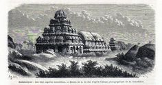 Antique print pagoda Mahabalipuram Tamil Nadu 1869 Mamallapuram