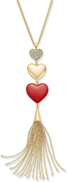 Thalia Sodi Gold-Tone Pave Triple-Heart & Chain Tassel Lariat Necklace, Created for Macy's