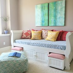 For the past several homes, I have used one of the bedrooms in the lower level as a craft/guest room. This time, my theme was geared more towards a teen girl.