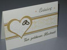 Hier biete ich eine edle handgemachte Einladungskarte zur goldenen Hochzeit, in Stempeltechnik gefertigt.  Die Einladungskarte zur Goldhochzeit besteht aus Farbkarton in perlweiß und...