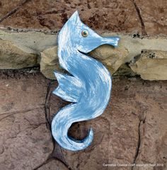 Hand crafted Painted wood sea horse for beach decor by CarmelasCoastalCraft, $25.00