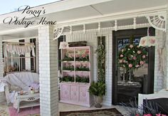 Penny's Vintage Home: Spring Porch. Is this not the cutest porch you've ever seen?