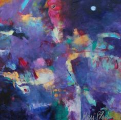 "Abstract Acrylic Painting on Canvas, Intuitive Art, Colorful, Purple, Acrylics, Original Wall Art ""Once in a Blue Moon"""