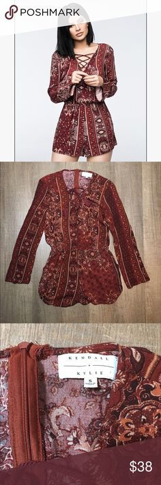 Kendall and Kylie Romper Size Small  Kendall and Kylie romper  Long sleeve, tassel tie, zipper back Kendall & Kylie Dresses