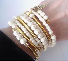 White gold charm bracelet Ivory braclet Natural by AmorPorteno