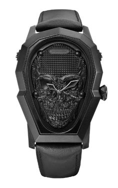 Marc Ecko Mens The Prometheus All Black IP Skull Stainless Steel Leather Watch in Jewelry & Watches, Watches, Wristwatches | eBay