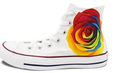 Unique Gifts for Women Converse Shoes Colorful Rose hand Painted