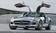 Mercedes-Benz SLS AMG. Ridiculous gull wing doors and all.