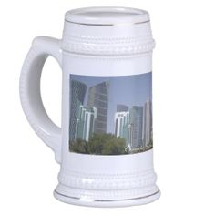 Corniche, Doha Qatar - White / Gold 18 oz Stein Coffee Mug