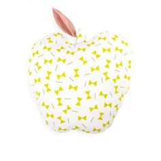 ARRO Home: 100% cotton poplin apple shaped cushion in custom designed two-colour 'Bowties Print' with felt leaf detail. Dimensions: 42cm x 46cm.