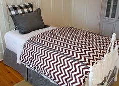 Maroon/Garnet, Black, White & Gray Twin XL Bedding (Gamecocks or Bulldogs) - Ready To Ship