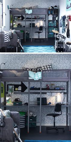 The IKEA TUFFING Loft bed frame is a great solution where space is limited. You can use the space under the bed for working or studying by completing with a desk, or create a cozy spot for sitting. Ikea Loft, Ikea Bunk Bed, Bunk Bed With Desk, Bunk Beds, Loft Beds, Ikea Inspiration, Boys Room Decor, Boy Room, Bedroom Loft