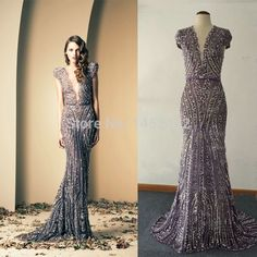 2015 Mermaid Evening Dresses Deep V Neck Crystal Beads Sweep Train Tulle Real Image Evening Dresses on Aliexpress.com | Alibaba Group