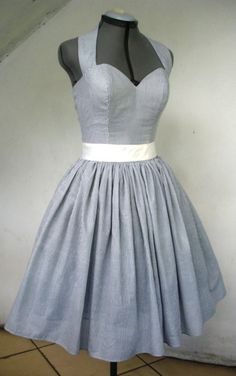 Knee Length 50s Inspired Halter Neck Cocktail Dress by elegance50s