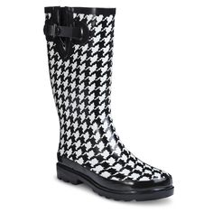 Woman's Houndstooth Rain Boots - Black