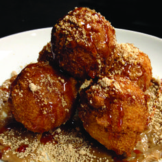 Hog and Hominy's Hushpuppies with Espresso Aioli and Sorghum