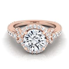 14k Rose Gold 1 1/0ct TDW White Diamond Love Knot Shank Engagement Ring (H-I, VS1-VS2) (Size - 11), Women's