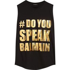 Balmain Oversized appliquéd cotton-jersey top found on Polyvore featuring tops, shirts, black, loose fitting tops, black top, oversized tops, gold metallic top and loose tops