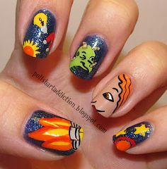 The Magic School Bus Nails. If I painted my nails with such details I would totally do this one day
