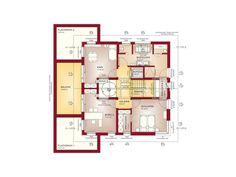Grundriss Fertighaus Stadtvilla Obergeschoss - Haus Concept-M 210 Bien Zenker - . The Plan, How To Plan, Dream Home Design, Modern House Design, Style At Home, Modern Architecture House, Architecture Design, Casa Atrium, Building Plans