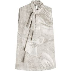 Alexander McQueen Printed Silk Blouse (4.640 RON) ❤ liked on Polyvore featuring tops, blouses, grey, grey blouse, sleeveless tops, silk top, gray sleeveless top and grey silk blouse