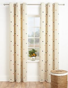Buy the Multi-Spotted Jacquard Eyelet Curtains from Marks and Spencer's range. Guest Bedrooms, Guest Room, Curtain Poles, Trendy Home, Home Furnishings, Nursery, Curtains, Design, Home Decor