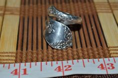 Hand Hammered / Made Wide Silver Spoon Detailed Floral Ring Size 8.5 -9  FSR8R #Handmade #vintagespoonring