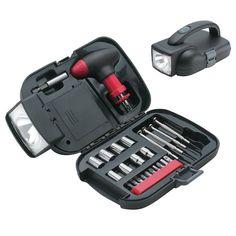"""Hộp dụng cụ Maxam® 25pc SAE Tool Set.  Giá bán: 519.574 VNĐ  http://www.e24h.vn/buy/hp-dng-c-maxam-25pc-sae-tool-set.html  Quai xách chữ T lắp bánh cóc Giá để mũi khoan nam châm & 10 mũi khoan 4 tua-vít Hộp dữ trữ để đi du lịch với đèn pin tích hợp Kích cỡ hộp 7-3/8"""" x 3-1/2"""" x 4-3/4"""""""