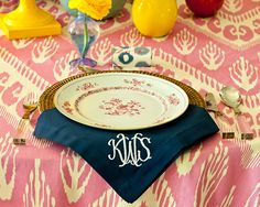 Coordinate, but Don't Match - Bridal Luncheon Ideas: Showered in Color - Southern Living Bridesmaid Luncheon, Bridal Luncheon, Wedding Shower Etiquette, Monogrammed Napkins, Beautiful Table Settings, Dinner Napkins, Southern Living, Tablescapes, Entertaining