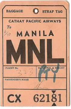 Creative -, Cathay, Pacific, Airlines, and Mnl image ideas & inspiration on Designspiration Vintage Luggage Tags, Luggage Labels, Ticket Design, Tag Design, Kelly Wearstler, Baggage Tag, Vintage Design, Vintage Graphic, Logo Vintage