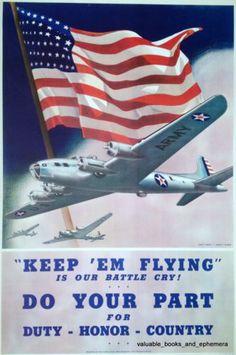 1942 KEEP EM FLYING Army AIR FORCE USAF Original Vintage War WW2 Poster Warplane