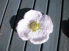 Hand knitted white poppy brooch corsage by thekittensmittensuk, £6.00