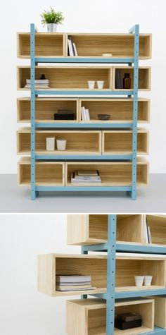 No tutorial, but this would be a great way to up-cycle old metal shelving (nichos na estante) Refurbished Furniture, Furniture Decor, Furniture Design, Plywood Projects, Diy Regal, Diy Design, Interior Design, Diy Casa, Bookcase Shelves