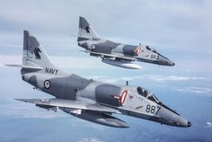 Douglas A-4G Skyhawks of the Royal Australian Navy. Sold to new Zealand and leased back! What a political farce.