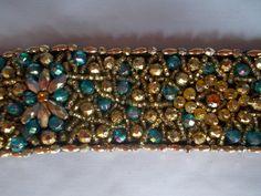 Beaded Belt Spectacluar work. Gold and blue beads. Handmade in Guatemala.