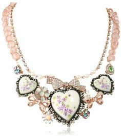 "Betsey Johnson Vintage Bows"" Floral Hearts Necklace, 20"" on shopstyle.com"