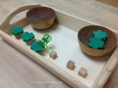 Shamrock balancing- place cubes on tray then use tweezers to balance foam pieces on cubes