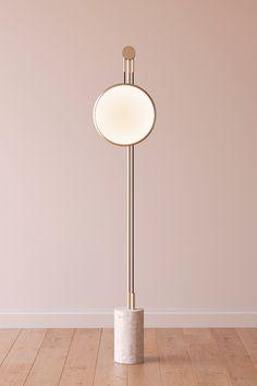 Soledad floor lamp | Roche Bobois round moon lamp pink brass
