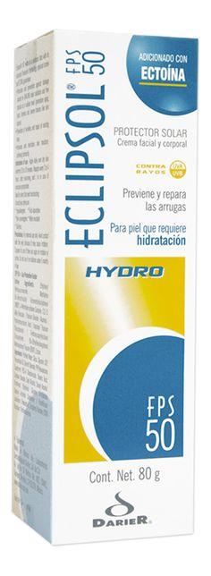 Eclipsol Hydro FPS 50 - Fotoprotector que gracias a su contenido de Ectoína ayuda a mantener hidratada la piel durante la exposición solar    •Por sus componentes se recomienda su uso diario.  •FPS 50 (Factor de protección solar)
