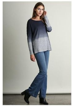 Shop Now    What A Stunner Midnight Navy Blue Ombre Wideneck Long Sleeve Top   Navy blue ombré long sleeve top that is perfect for the change of the seasons. If you are looking for the perfect top for this fall or winter then you will love this top. It is a generous fit which makes it great to layer with. The tunic style length makes it perfect to pair with leggings or jeans. Also a cute top that will look great paired with booties and boots. This gorgeous blue top is a must have!