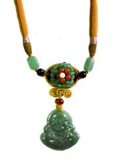 £36.99 Happy Buddha Carved Green Jade Gemstone Pendant with Unique Design Jade Beads Decorated Necklace - Fortune Jade Buddha Jewelry by Feng Shui & Fortune Jewelry, http://www.amazon.co.uk/dp/B00CYM5SKE/ref=cm_sw_r_pi_dp_be7Nrb0VXG58J