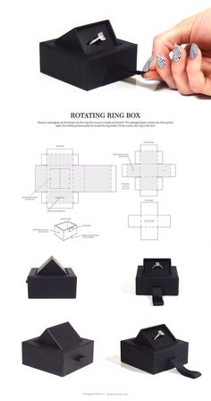 The Rotating Ring Box! Interactive engagement ring packaging that rotates open. The Rotating Ring Box! Interactive engagement ring packaging that rotates Packaging Dielines, Luxury Packaging, Box Packaging, Design Packaging, Diy Gift Box, Diy Box, Packing Boxes, Packing Box Design, Origami Box